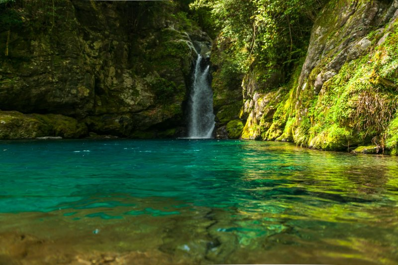 Niko-buchi, shining in emerald green with surprisingly clear water