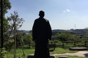 Kano Jigoro statue overlooking Teganuma and gazing on Mount Fuji