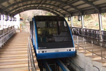 The cable car takes you easily up or down the mountain