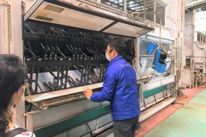 One of the machines in the vast production process of making green tea!