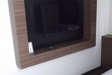 The TV is set in the wall
