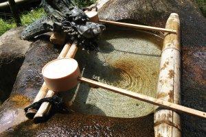 """Tsukubai"" for washing hands at temple entrances"