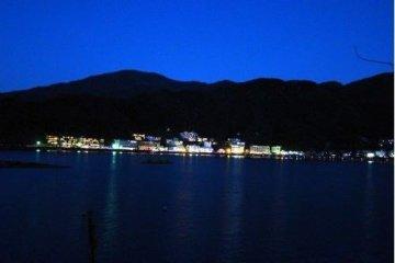 美丽的河口湖夜景