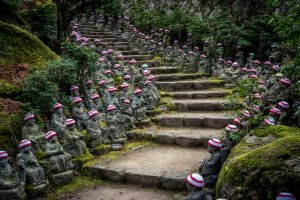 Buddha lined steps at Daisho-in Temple