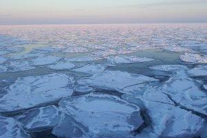Drift ice off the coast of Mombetsu, Hokkaido