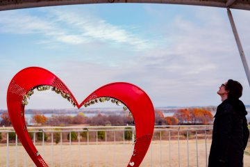 The distinctive heart-shaped symbol of the lake can be found in a surprising number of places.