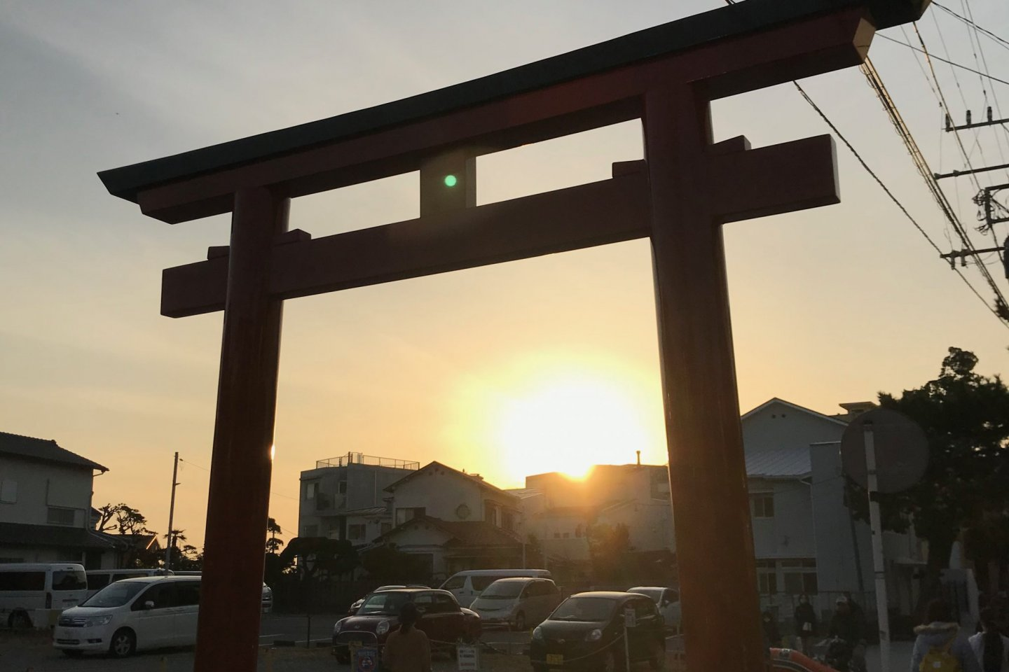Torii near the road, leading to the shrine