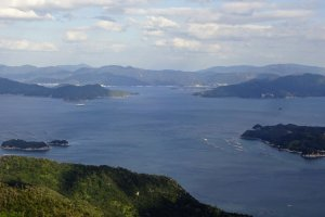 Seto Inland Sea's forested islands.