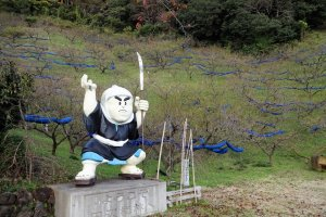 Famous Benkei welcomes you at the Plum Orchard