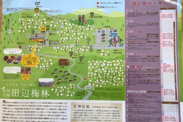 A map shows the way through the orchard