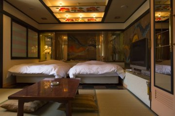 One of many rooms available at Hotel Cube Nara