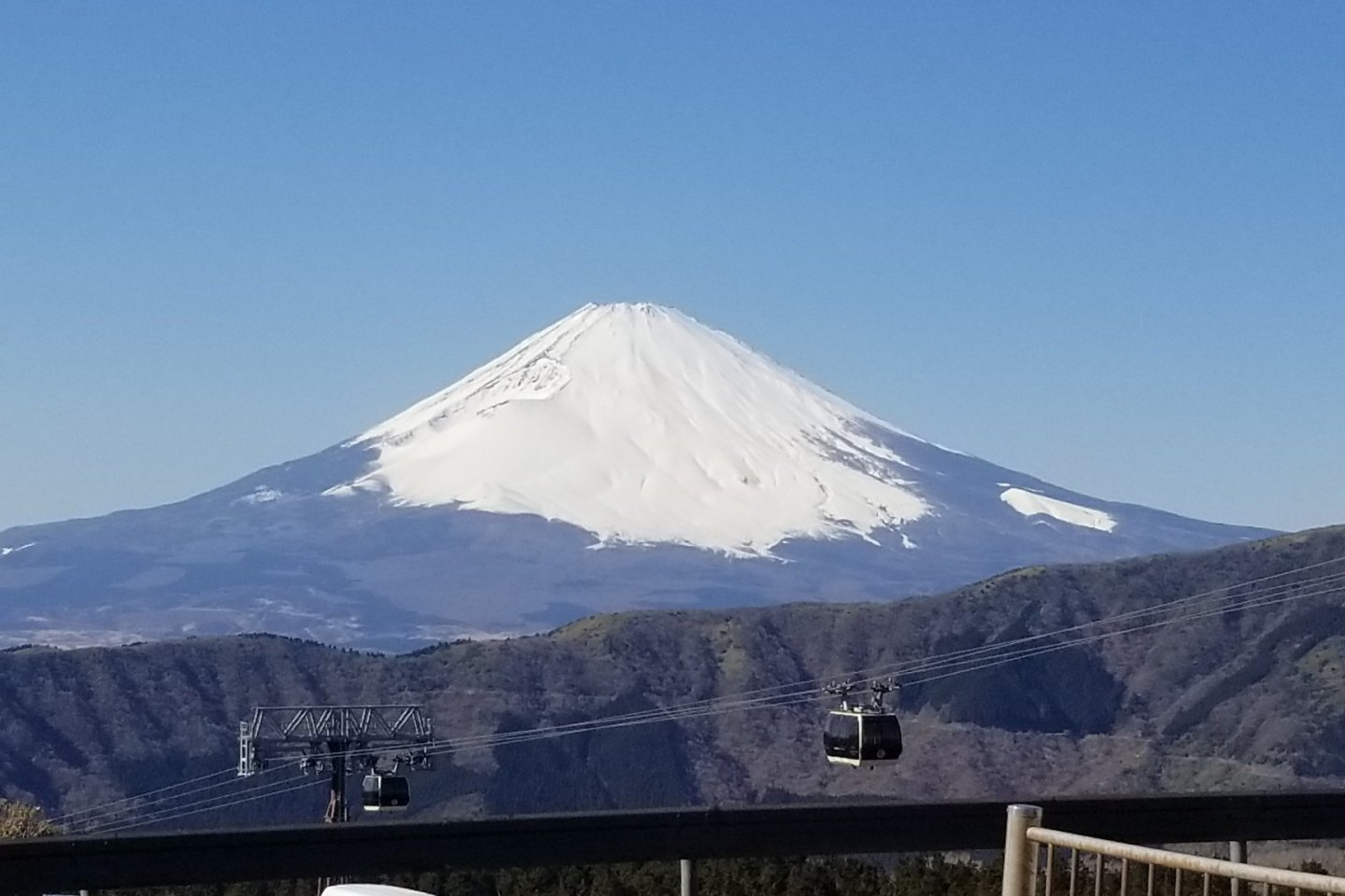 You can see Mt. Fuji when you get off at Owakudani