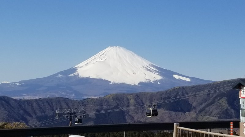 You can see Mount Fuji when you alight at Owakudani