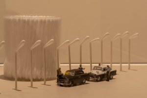Everyday items are commonly used in Tanaka's miniature scenes