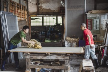 Yanase-san and son at work in the workshop