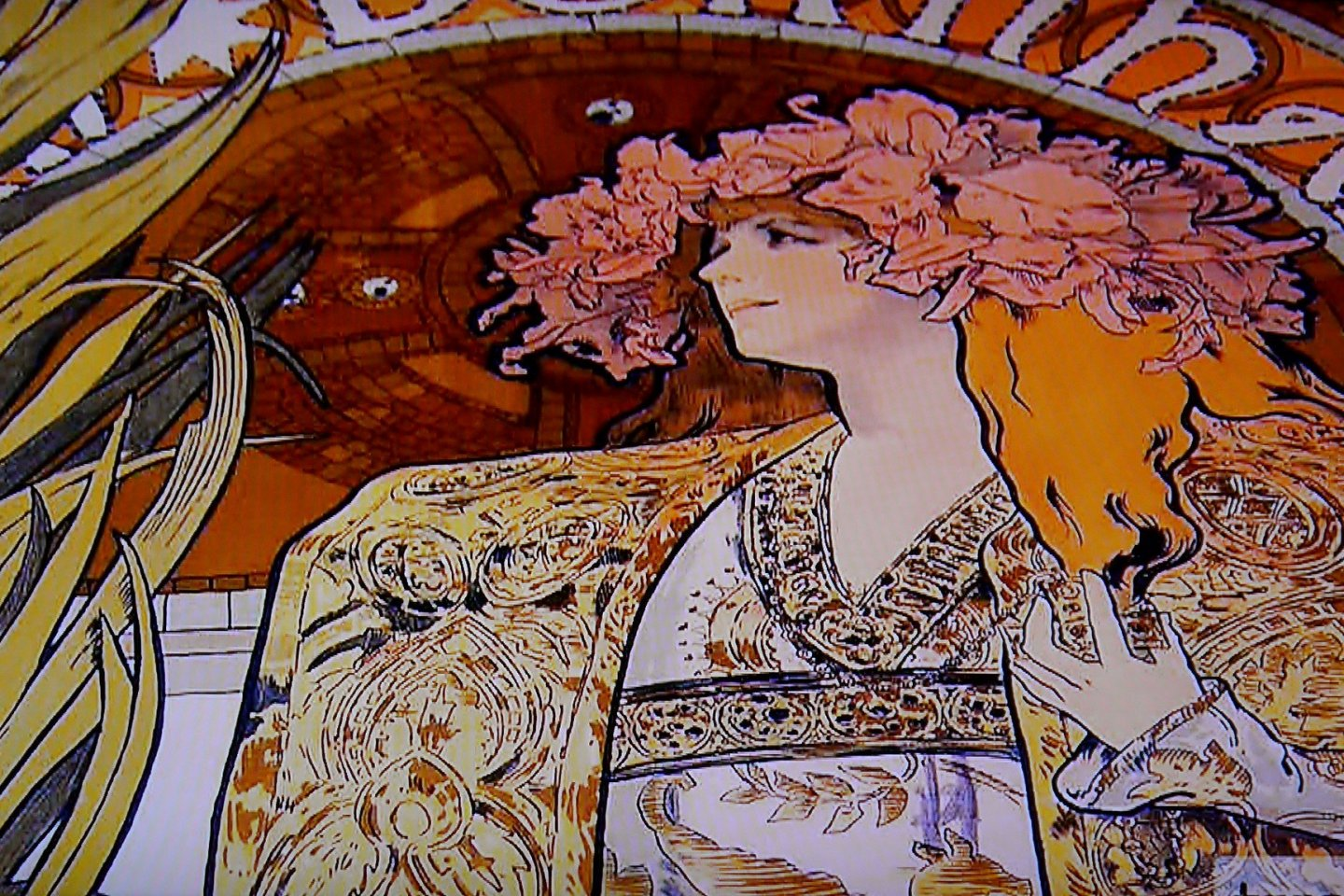 One of Mucha\'s famous posters: \