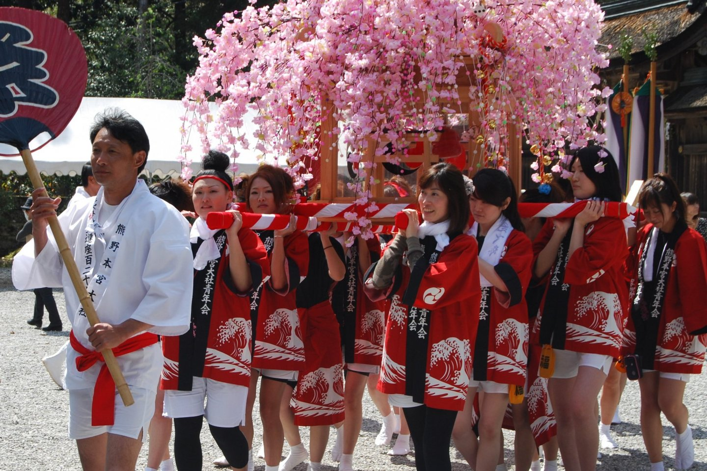 Mikoshi carried by young women during the Kumano Hongu shrine spring festival in April each year.