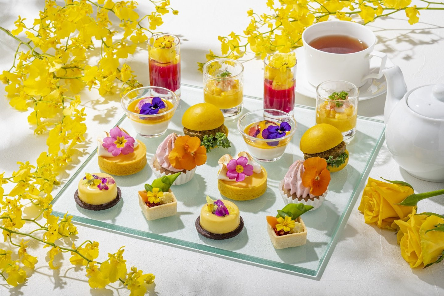 The Early Summer Afternoon Tea at the Conrad Tokyo takes on a yellow, floral theme