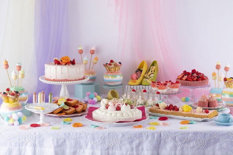 An impressive variety of pastel-colored sweets await