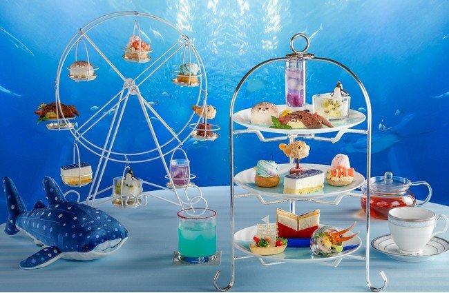 The afternoon tea is a collaboration between the Sheraton Miyako Hotel Osaka and Kaiyukan Aquarium