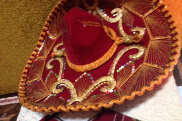 This sombrero is a bit dusty, but otherwise is a beautiful accent to the restaurant's dining area
