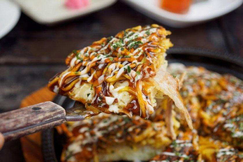 Warm okonomiyaki fresh off the plate