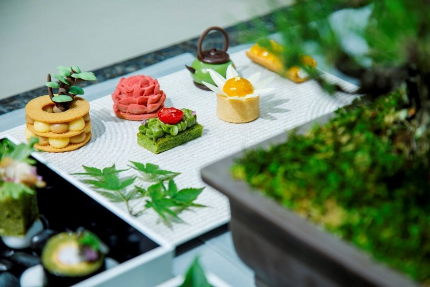 The afternoon tea presentation is designed to mimic traditional Japanese dry landscape gardens