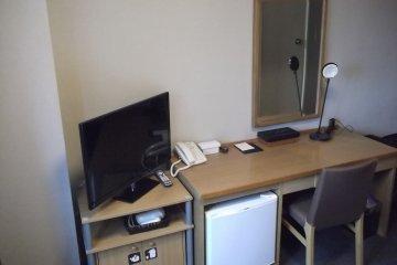 Fridge, desk, TV