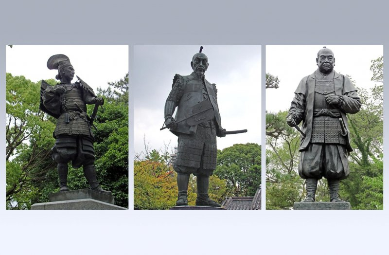 Left to right: Oda Nobunaga, Toyotomi Hideyoshi, Tokugawa Ieyasu