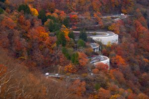 The Irohazaka Winding Route has almost 50 hairpin turns - and plenty of color to enjoy