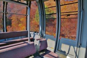 Inside the Tanigawadae Ropeway gondola