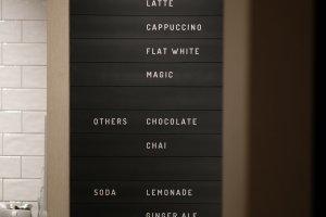 The drinks menu