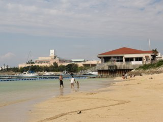 The beach becomes very crowded in the summertime