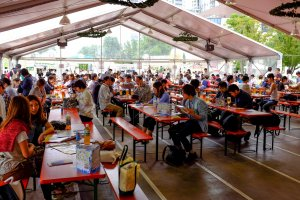 In true Oktoberfest style, there was a large beer hall packed with thirsty customers