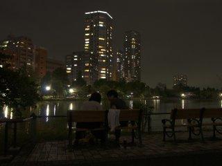 The Shinobazu Pond seems to be a popular romantic destination for couples