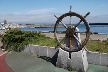 A ship's wheel reminds you of the city's seafaring heritage