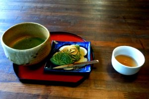Matcha Tea and Traditional Japanese Sweets at Oharano Shrine in the hills behind Kyoto