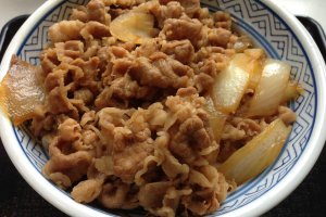 Gyudon is a donburi dish of rice covered by beef and onions