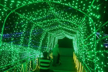 arcade of dreamy jade lights