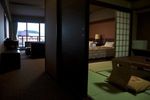A different view of a combined Japanese tatami and Western style room