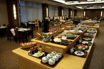 Buffet spreads are available for breakfast and dinner at the hotel restaurant