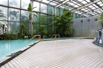 The indoor public bath: It features an Utase-yu (hot spring waterfall), sauna and whirlpool