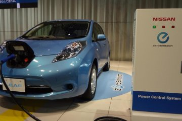 """The most attractive car in the showroom for me was a blue EV (electric vehicle)—one of Nissan's major focuses for the future. """"LEAF"""" is a cute compact EV. The car has a high, sharp nose with cute little hips."""
