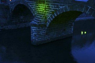 Megane-bashi illuminated in green