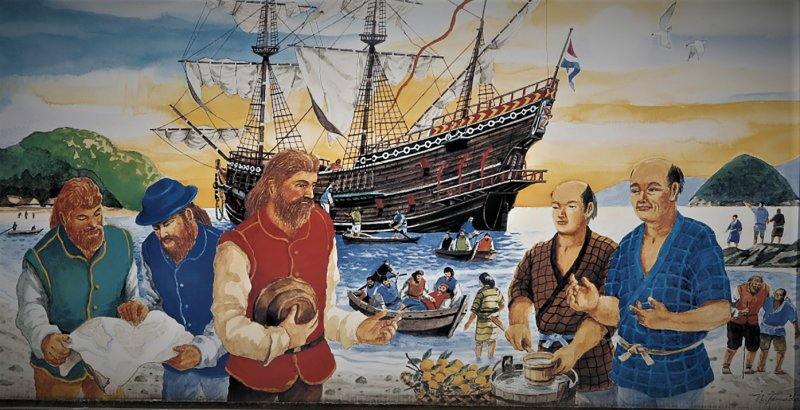 The arrival of the ship Liefde at the coast of Kyushu. William Adams wears a blue hat and clothes, and Jan Joosten red clothes. It was their first encounter with the Japanese in 1600.