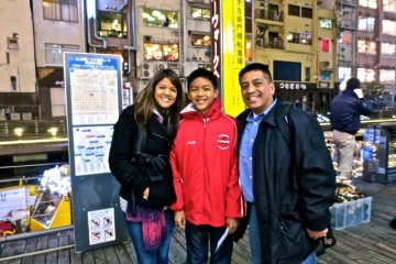 Before it gets too dark, get your picture taken at the Tazaemonbashi Bridge Boat Dock.