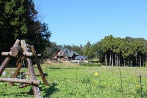 ラーバンの森・おけら牧場の入口。手前のログハウスは動物病院