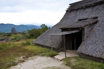 <p>Entrance of a pit dwelling at Minami-no-mura</p>