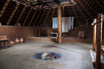 <p>The inside of a typical pit dwelling at Minami-no-mura</p>