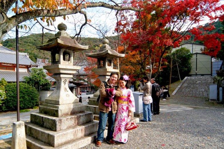 秋・紅葉・和服・清水寺